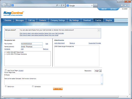 The RingCentral Web Interface Application