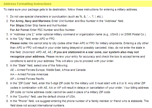 Best Buy Military Discount - Address Formatting